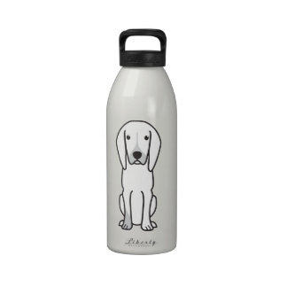 Black and Tan Coonhound Dog Cartoon Reusable Water Bottle