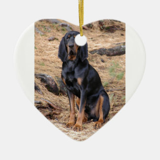 Black and Tan Coonhound Dog Ceramic Heart Ornament