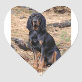 Black and Tan Coonhound Dog Heart Sticker