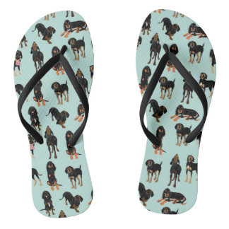 Black and Tan Coonhound Flip Flops