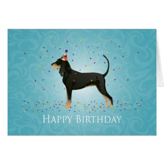 Black and Tan Coonhound Happy Birthday Design Card