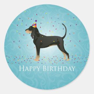 Black and Tan Coonhound Happy Birthday Design Round Sticker