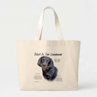 Black and Tan Coonhound History Design Large Tote Bag
