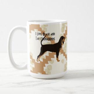 Black and Tan Coonhound on Tan Leaves Classic White Coffee Mug