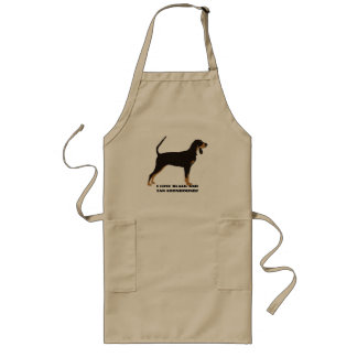 Black and Tan Coonhound on Tan Leaves Long Apron