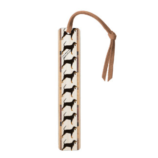 Black and Tan Coonhound on Tan Leaves Maple Bookmark