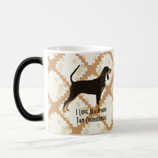 Black and Tan Coonhound on Tan Leaves Mugs