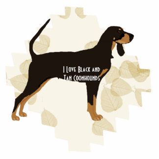 Black and Tan Coonhound on Tan Leaves Photo Sculpture Keychain