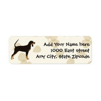 Black and Tan Coonhound on Tan Leaves Return Address Label
