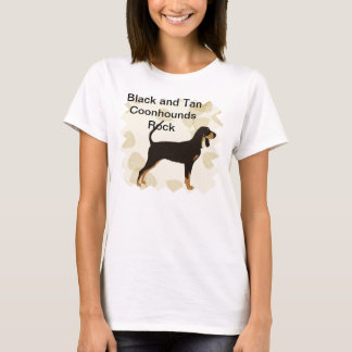 Black and Tan Coonhound on Tan Leaves T-Shirt