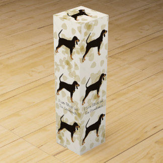 Black and Tan Coonhound on Tan Leaves Wine Gift Box