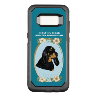 Black and Tan Coonhound on Teal Floral OtterBox Commuter Samsung Galaxy S8 Case