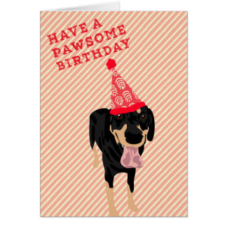 Black and Tan Coonhound Pawsome Birthday Card