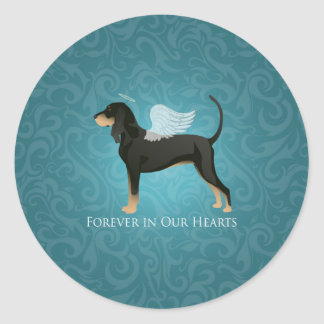 Black and Tan Coonhound Pet Dog Memorial Angel Round Sticker