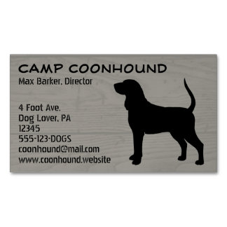 Black and Tan Coonhound Silhouette Magnetic Business Card