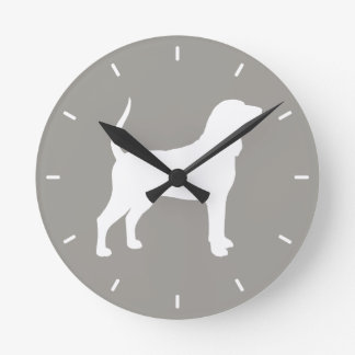 Black and Tan Coonhound Silhouette Round Clock