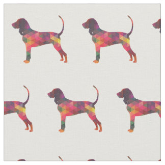 Black and Tan Coonhound Silhouette Tiled Fabric