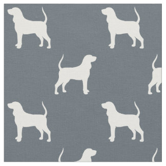 Black and Tan Coonhound Silhouettes Pattern Fabric