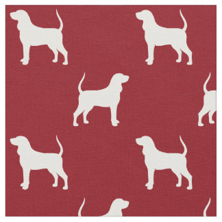 Black and Tan Coonhound Silhouettes Pattern Red Fabric