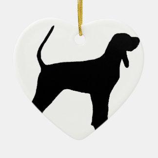 black and tan coonhound silo black ceramic heart ornament