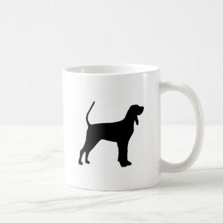 black and tan coonhound silo black coffee mug