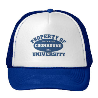 Black and tan coonhound university trucker hat