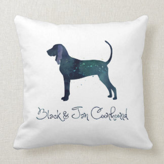 Black and Tan Coonhound Watercolor Silhouette Pillows