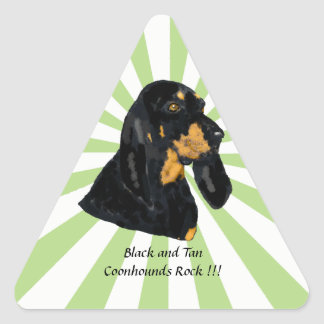 Black and Tan Coonhounds Rock w/starburst Triangle Sticker