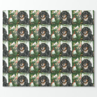 Black and tan Dachshund Christmas Wrapping Paper