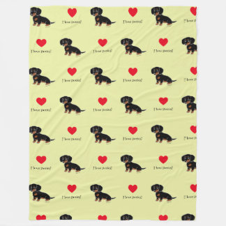 Black and Tan Dachshund Cute Eyes Fleece Blanket