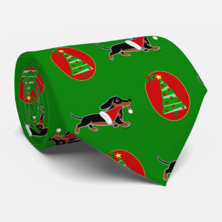 Black and Tan Dachshund Holiday Tie