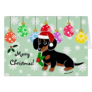Black and Tan Dachshund Santa Card