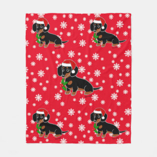 Black and Tan Dachshund Santa Fleece Blanket