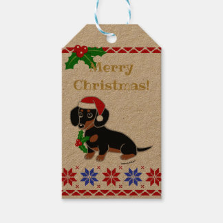 Black and Tan Dachshund Santa Gift Tags