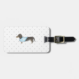Black and Tan Dachshund - Watercolor andPolka Dots Luggage Tag