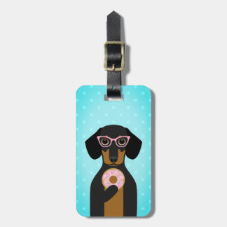 Black and Tan Dachshund with Pink Donut Bag Tag
