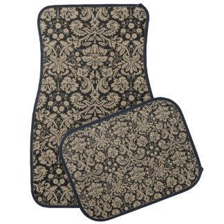 Black And Tan Damask Pattern Car Carpet