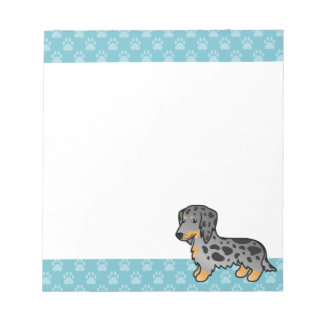 Black And Tan Dapple Long Coat Dachshund Dog Notepad