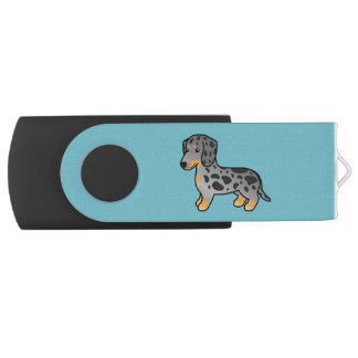 Black And Tan Dapple Smooth Coat Dachshund Dog USB Flash Drive