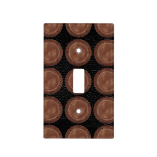 Black and Tan Faux Leather Light Switch Cover