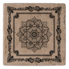 Black And Tan Floral Frame And Mandala Trivet