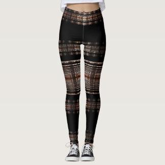 Black and Tan Fractal Design Leggings