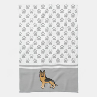 Black And Tan German Shepherd With Paws Pattern Kitchen Towel