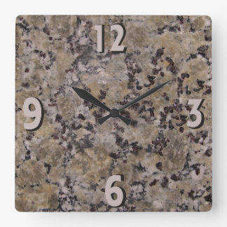 Black and Tan Granite Square Wall Clock
