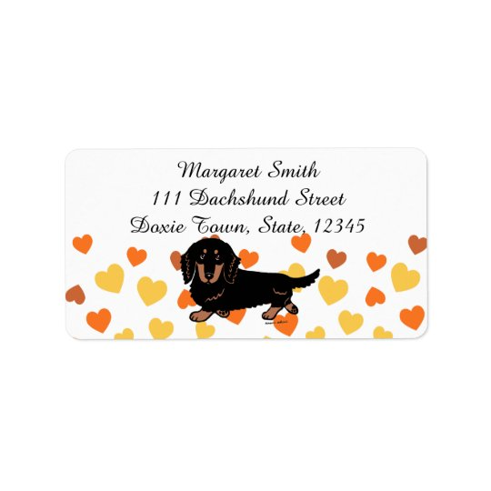 Black and Tan Long Haired Dachshund 1 Label