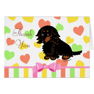 Black and Tan Long Haired Dachshund 3 Card