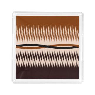 Black and Tan Modern Print Acrylic Tray