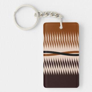Black and Tan Modern Print Double-Sided Rectangular Acrylic Keychain