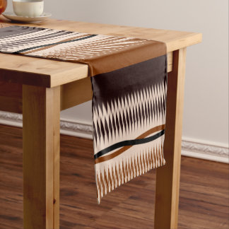 Black and Tan Modern Print Short Table Runner