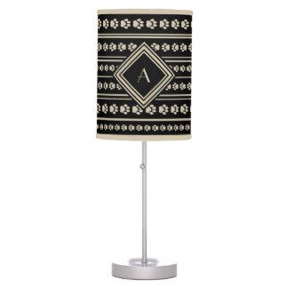 Black-and-Tan Paw Print Stripe Lamp with Monogram